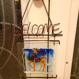 Welcome Deer Glass Hanger